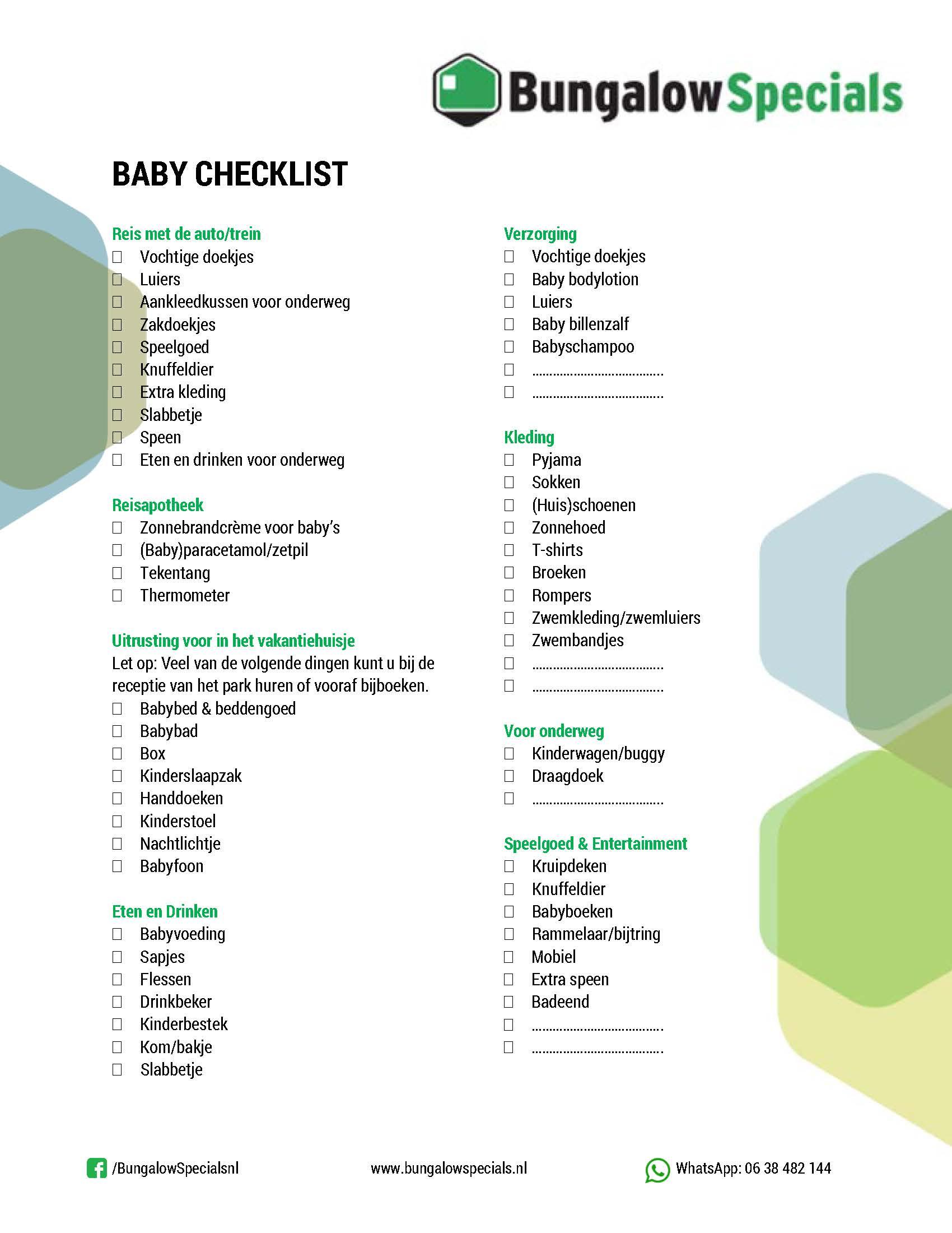 Met baby op vakantie checklist BungalowSpecials